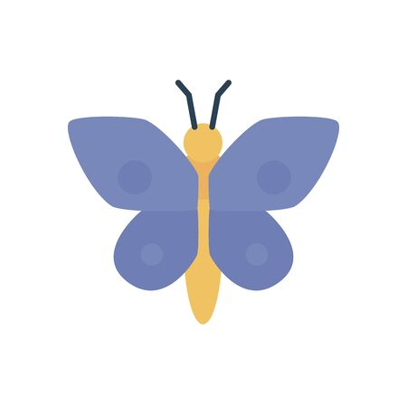 cute butterfly icon over white background, flat style, vector illustration