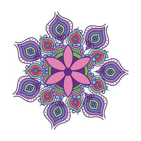 Mandala colorful design of Bohemic ornament indian decoration retro vintage meditation henna ethnic arabic texture and tribal theme Vector illustration