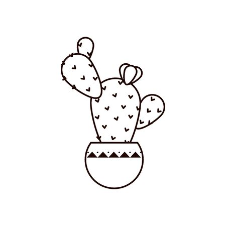 cactus inside pot line style icon design, Plant desert nature tropical summer mexico and western theme Vector illustration