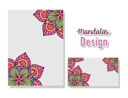 Mandalas cards design of Bohemic ornament indian decoration retro vintage meditation henna ethnic arabic texture and tribal theme Vector illustration 向量圖像