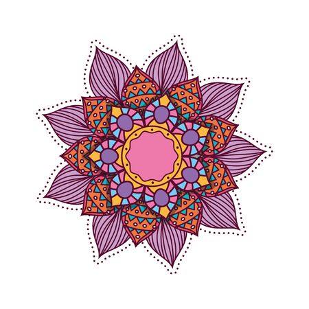 flower mandala colorful design of Bohemic ornament indian decoration retro vintage meditation henna ethnic arabic texture and tribal theme Vector illustration 向量圖像