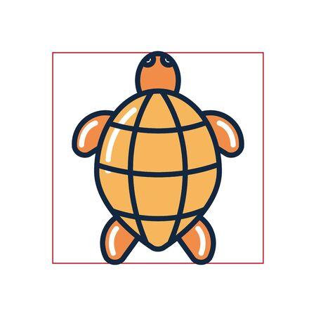 turtle fill style icon design Sea life ecosystem fauna ocean underwater water nature marine tropical theme Vector illustration