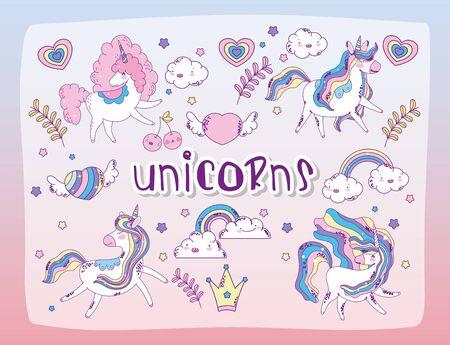 unicorns cartoons set design, magic fantasy fairytale childhood animal fairy wild cute and lovely theme Vector illustration Vecteurs