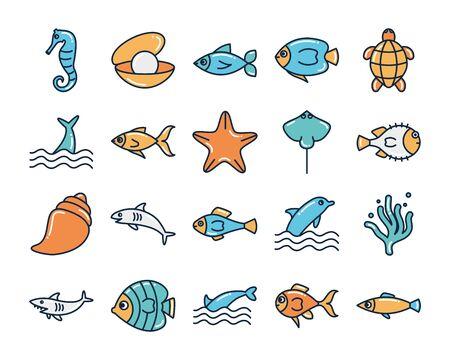 fill style icon set design Sea animals life ecosystem fauna ocean underwater water nature marine tropical theme Vector illustration