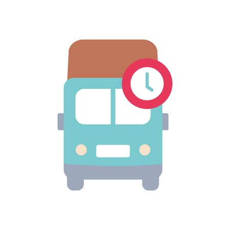 cargo truck and clock icon over white background, flat style, vector illustration Foto de archivo - 143740795