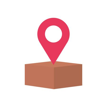 free delivery concept, location pin and box icon over white background, flat style, vector illustration Foto de archivo - 143740751