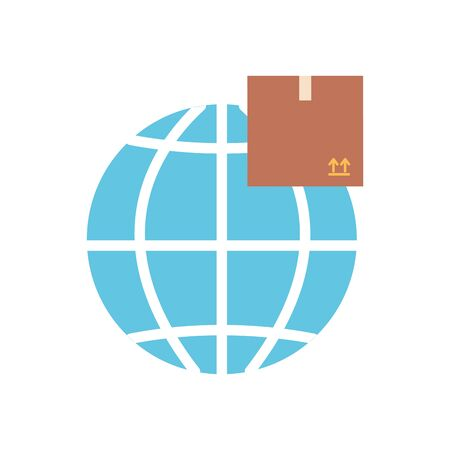 free delivery concept, global sphere with package box icon over white background, flat style, vector illustration Foto de archivo - 143740607