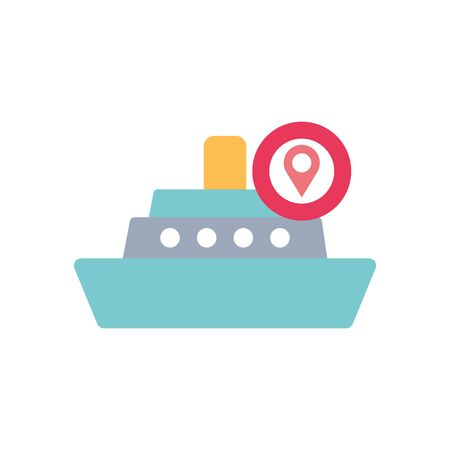cargo ship and location pin icon over white background, flat style, vector illustration Foto de archivo - 143740580