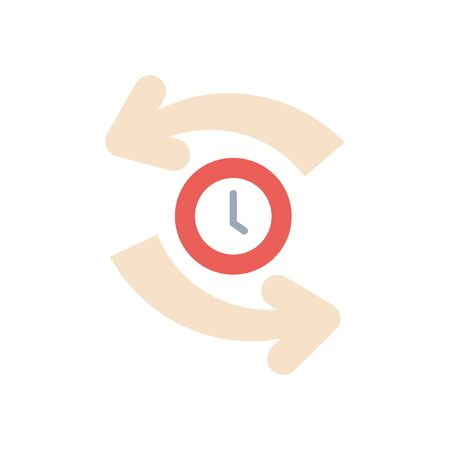 sync arrows and clock icon over white background, flat style, vector illustration Foto de archivo - 143743698