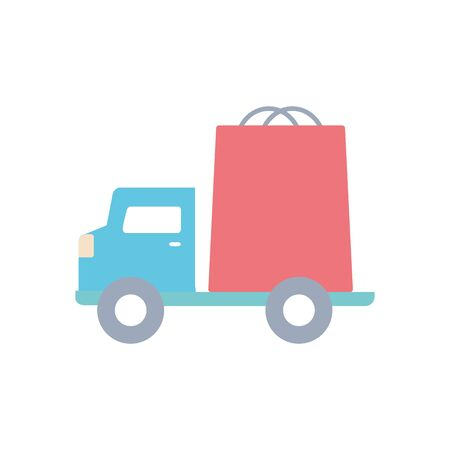 cargo truck with shopping bag icon over white background, flat style, vector illustration Foto de archivo - 143743858