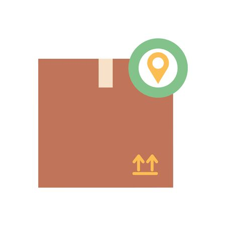 free delivery concept, package box with location pin icon over white background, flat style, vector illustration Foto de archivo - 143743757