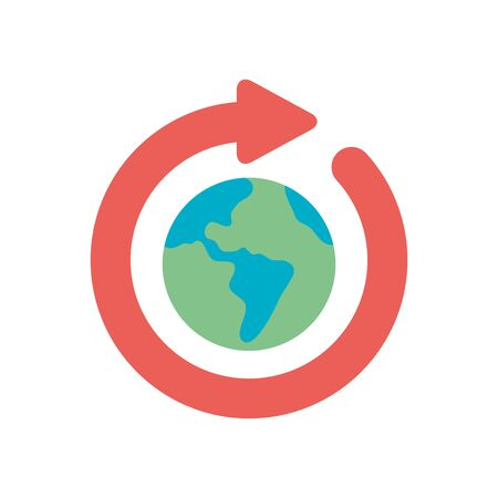 earth planet with arrow around icon over white background, flat style, vector illustration Foto de archivo - 143743541