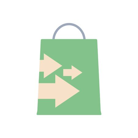 shopping bag with arrows design over white background, flat style, vector illustration Foto de archivo - 143743778