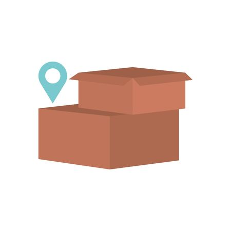 boxes and location pin icon over white background, flat style, vector illustration