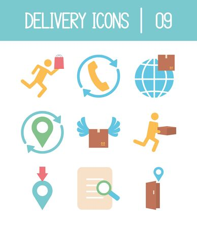 location pin and delivery icon set over white background, flat style, vector illustration Foto de archivo - 143743760