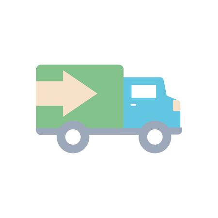 delivery cargo truck icon over white background, flat style, vector illustration Foto de archivo - 143743746