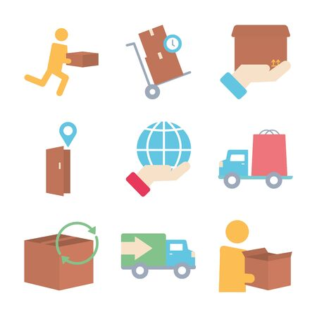boxes and delivery icon set over white background, flat style, vector illustration Foto de archivo - 143743478