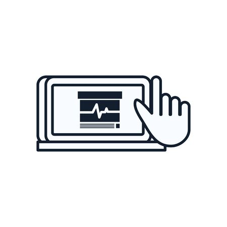 pulse inside laptop and cursor line style icon design of Medical care health emergency aid exam clinic and patient theme Vector illustration