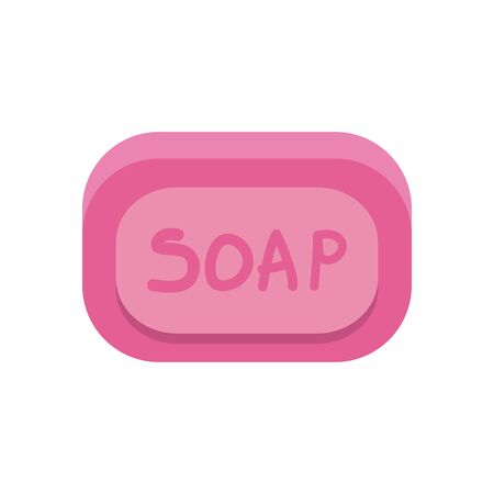 soap bar flat style icon design, Cleaning service wash home hygiene equipment domestic interior housework and housekeeping theme Vector illustration