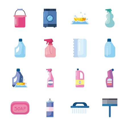 flat style icon set design, Cleaning service wash home hygiene equipment domestic interior housework and housekeeping theme Vector illustration