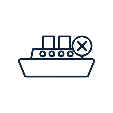 forbidden maritime traffic symbol of cruise icon over white background, line style, vector illustration