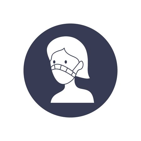 woman with mouth mask icon over white background, block style, vector illustration Illustration