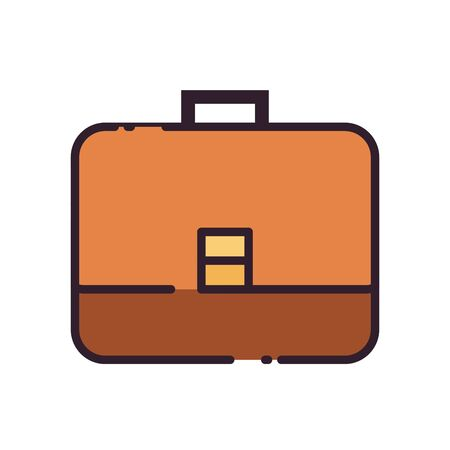 Suitcase bag fill style icon design, Case office school university travel baggage luggage handle leather and trip theme Vector illustration