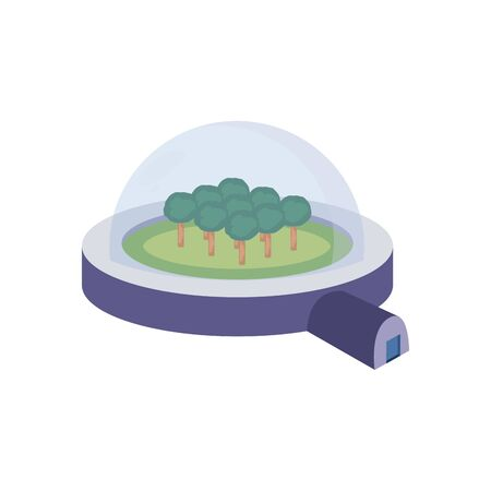 trees inside sphere station fill style icon of Space futuristic cosmos outside universe astronomy adventure and exploration theme Vector illustration