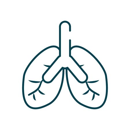 lungs icon over white background, line style, vector illustration Ilustracja