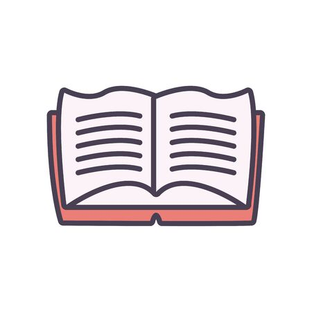 book line and fill style icon design, Education literature read library school university information learning and text theme Vector illustration