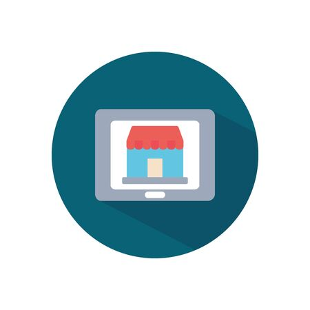 shopping online concept, tablet with store icon on screen over white background, block style, vector illustration