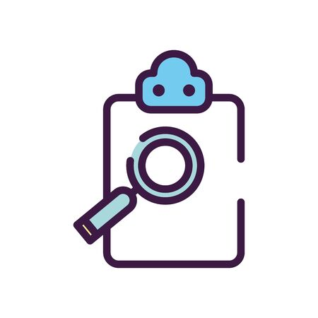 healthcare concept, medical report and magnifying glass icon over white background, line color style, vector illustration