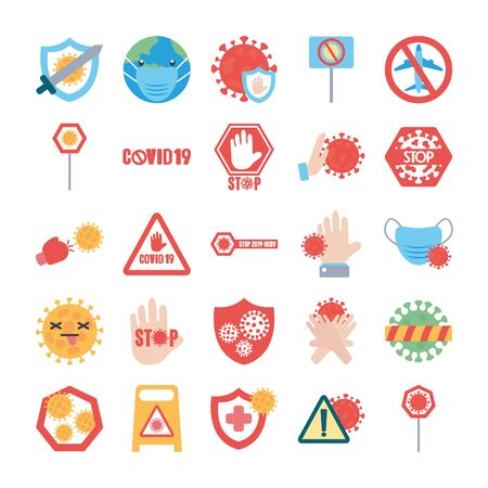 mouthmasks and stop covid19 icon set, over white background, flat style, vector illustration