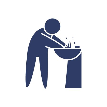 pictogram man washing his hands icon over white background, line style, vector illustration Vectores