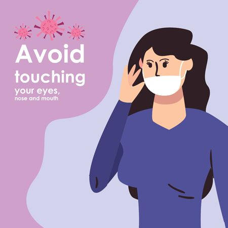 Design of prevention of covid 19, Woman with mouthmask touching her face over purple background, colorful design, vector illustration