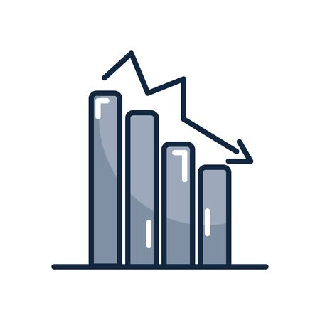 financial broke concept, descending bar graph icon over white background, line color style, vector illustration