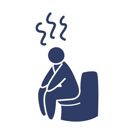 pictogram man sitting on the toilet with diarrhea over white background, line style, vector illustration Vettoriali