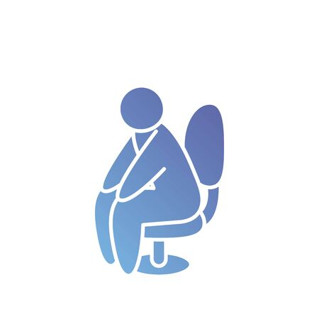 pictogram man sitting in a chair over white background, gradient style, vector illustration