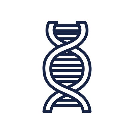 DNA chain icon over white background, line style, vector illustration