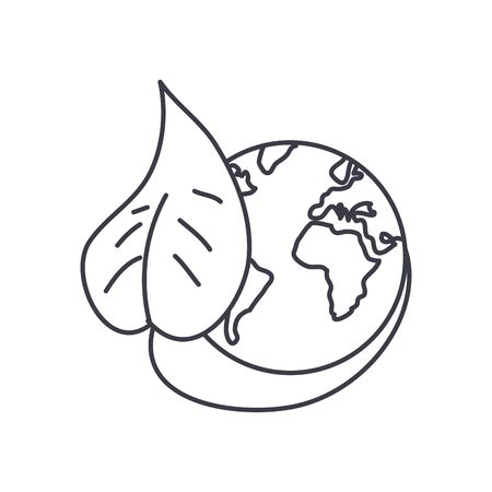 earth planet and leaf icon over white background, line style, vector illustration