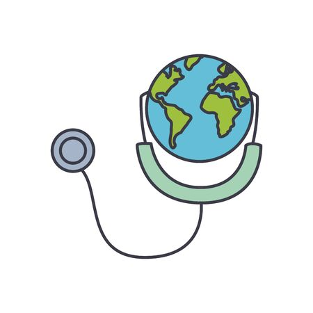 earth planet with stethoscope icon over white background, fill style, vector illustration
