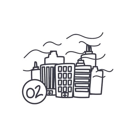city with fresh air icon over white background, line style, vector illustration