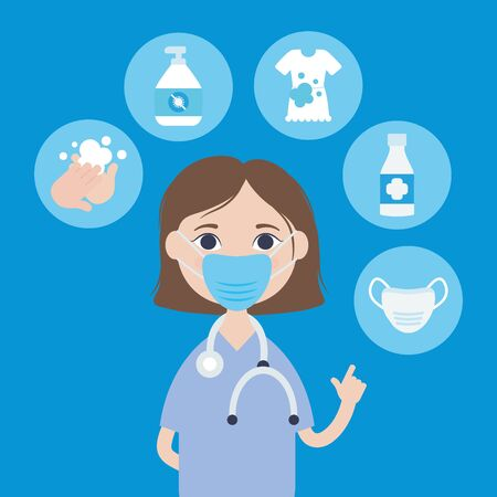 cartoon doctor woman with mouth mask showing the importance of the preventions of covid 19 over blue background, colorful design, vector illustration Vectores
