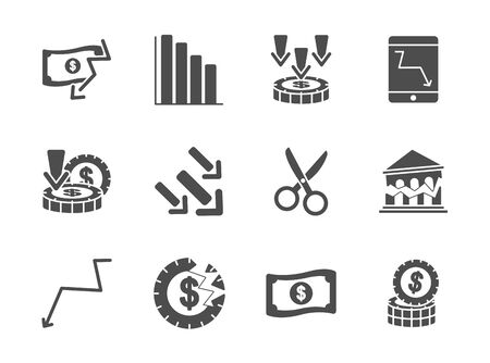 graphic charts and financial broke icon set over white background, silhouette style, vector illustration