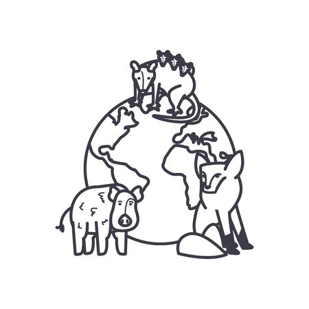 earth planet with animals around over white background, line style, vector illustration
