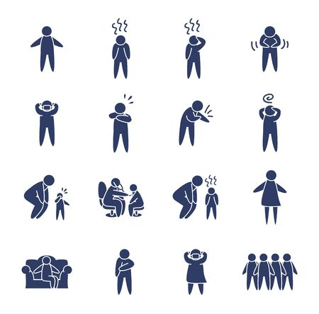 pictogram doctors and persons icon set over white background, line style, vector illustration