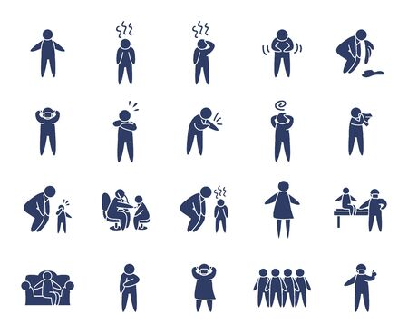 pictogram persons and sickness icon set over white background, line style, vector illustration
