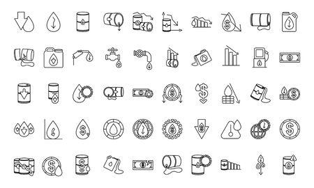 icon set of oil crash concept over white background, line style, vector illustration Vector Illustration