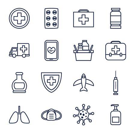ambulances and covid 19 icon set over white background, line style, vector illustration