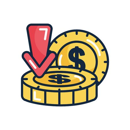 economic recession concept, money coins and arrow over white background, line color style, vector illustration